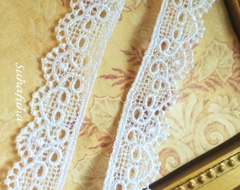 "3 yd WHITE Venise Heart Scalloped Edging 5/8"" inch for scrapbooking crafts Shabby Chic"