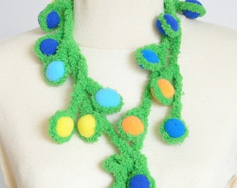 Spring Berry - Multicolor Berry and Crochet Vine Lariat