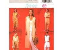 Womens Jacket Duster Dress Pants Pattern Butterick 4239 Buttoned Long Vest Trousers Wardrobe | Women Sewing Pattern Size 14-18 UNCUT