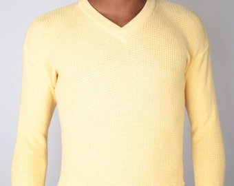 Vintage 70s YSL Yves Saint Laurent Butter Yellow Waffle Knit Sweater // Mens Vintage Sweater (sz S/M)