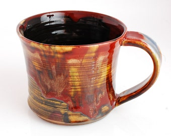 18 oz Mug Porcelain Red Amber Ceramic Mug Large