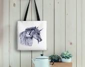 Fae Friends Tote Bag, Fairy Unicorn Drawing on Eco Friendly Bag