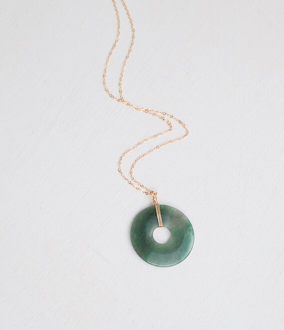 jade circle necklace wisdom pendant rustic nature green