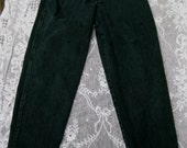 size 9 FOREST GREEN HIGH Waisted 1980s 80s jeans by zena