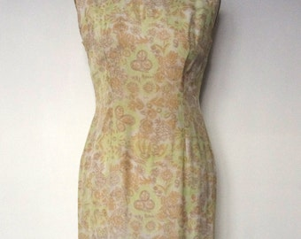 French vintage 1960s wiggle silk and cotton dress - small S