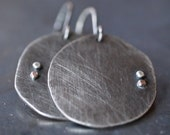 Large modern handmade fine silver disc and mixed metal dot earrings