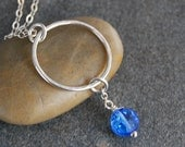 Silver, Vintage, Blue ,Swarovski, Crystal, Necklace