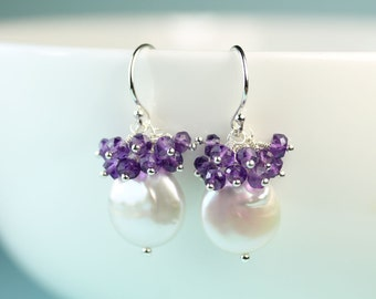 Coin Pearl Earrings with Amethyst gemstone Cluster by art4ear, Argentium silver French Hooks, Free shipping in Canada, February birthday