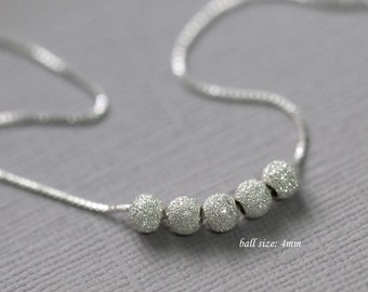 Delicate Sterling Silver Stardust Necklace, Sterling Silver Stardust Ball Beads on Fine Sterling Silver Necklace Chain