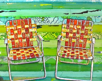 ART PRINT o CANVAS Retro lawn chairs seats vintage antique summer print  relax wall home decorLawn chair   Etsy. Antique Motel Chairs. Home Design Ideas