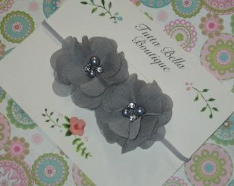 Gray Flower Headband, Baby Headband, Pearl & Rhinestone Headband, Silver Chiffon Flower, Baby Hair Bow, Baby Bow, Toddler Headband