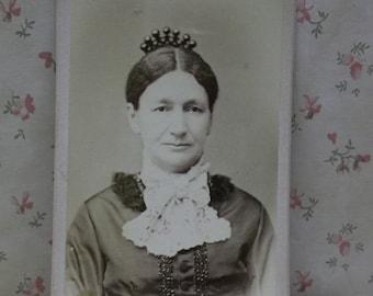 Fancy Older Lady-Fashion Dress-Hair Comb-Crown-Antique CDV Photo-Ovid,NY