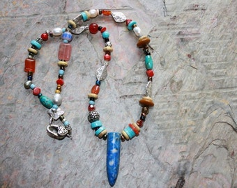 Southwestern Necklace Turquoise, Red Jasper, and Blue Sodalite
