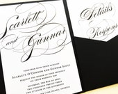 Classic Wedding Invitation - Pocketfold Wedding Invitation - Elegant Script Wedding Invitations - Wedding Invites