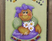 Gingerbread Girl Purple and Green Summer Metal Wall Hanging