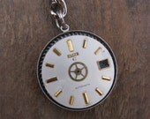 Steampunk Keychain, Handmade Keyring, Accessories, Vintage Dial, Watch Movement, Gift for Him, Key Ring, Double Sided, Unique Men's Present
