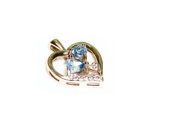 Blue Topaz Pendant  ,  Sterling Silver Pendant  ,  Genuine  Faceted Blue Topaz  ,  Heart Pendant  , Sterling Silver Chain , Gift For Her