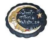 Hand Painted Lazy Susan | Winter Moon Snowman