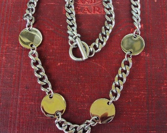 Vintage Statement Necklace Curb Chain Choker Short Necklace Silver Disc Pendant Layered Versatile Toggle Clasp Costume Jewelry
