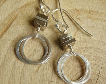 Squares and Circles - Iron Pyrite and Sterling Silver Earrings