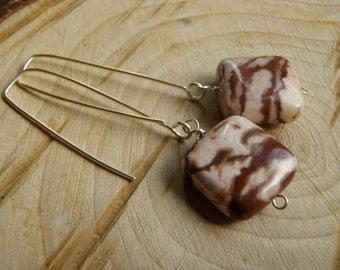 Brown Zebra Jasper & Sterling Silver Earrings