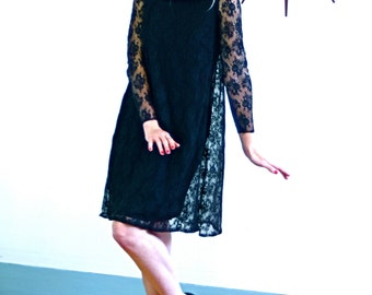 Vintage Mod 60s Black Lace Mini-Dress Go-Go A-Line Shift Long Sleeve Sheer Sheath Dress 1960s MAD MEN Lbd Short Above The Knee 1960s Shift
