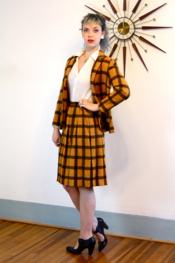 Vintage 60s Plaid Jacket & Skirt Set Orange Brown Wool Two 2 Piece Ladies Suit Blazer Yellow Black Checker Pleated Skirt 1960s Womens Outfit