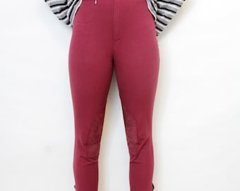 Vintage pants / Georg Schumacher breeches / burgundy riding pants / size S, M