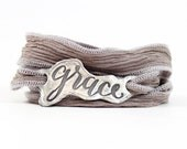 Grace Bracelet, Silk Wrap Bracelet, Sterling Silver Bracelet, Inspirational Jewelry, Unique Jewelry for Her, Religious Sentiment