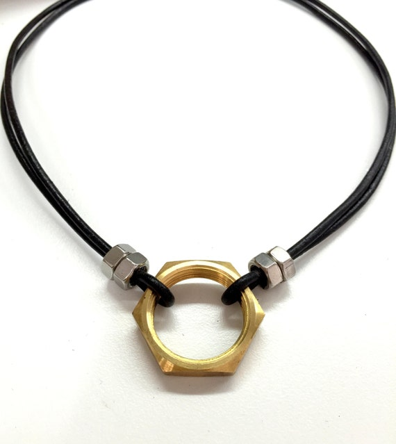 Cool mens necklace w hex nut black leather necklace like this item mozeypictures Images