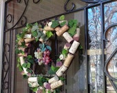Wine Cork Wreath, Wedding decor, Heart shaped, bridal shower, reception door decor