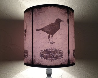 Raven crow lamp shade lampshade Halloween Curiosities - cabinet of curiosities, Halloween decor, goth, raven, crow, owl, bat, spider, skull