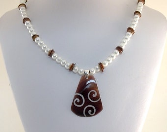 Brown Swirl Necklace - LillyPilly Necklace - Mother of Pearl Necklace - White Glass Pearls Necklace - Brown and White Necklace - N033