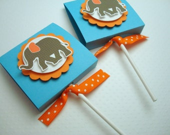 Circus Elephant Lollipop Party Favors, Teal and Orange, Set of Ten