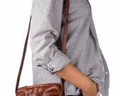 Sale! Stout Satchel - Brown, Small, Compact Leather Messenger Bag With a Long Adjustable Strap