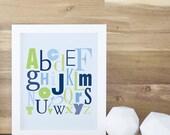 Alphabet Poster ABC Art Print Letters Print Kids Design Art and Decor Navy Blue Green Learning Decor Baby. ABC Print - Navy Blue/Green