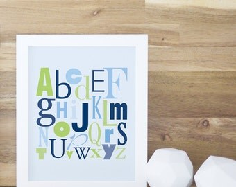 Alphabet Poster ABC Art Print Letters Print Kids Design Art and Decor Navy Blue Green Learning Decor Baby. ABC Print - Navy Blue/Green