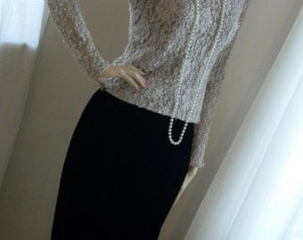 Vintage Taupe Lace High Neck  Blouse Size S/M 6/8 Great Cond Gorgeous Semi Sheer Sleeves