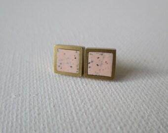 peach granite brass hexagon stud earrings
