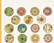 Antique Map Circles Ceramic Decals, Glass Fusing Decals, Enamel Decals