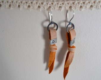 Mini On The Fringe. Deer Hide Leather Silver Earrings
