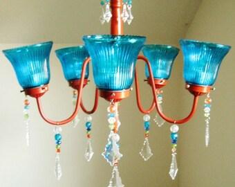 Tropical Romance Orange and Aqua Custom 5 arm chandelier MADE TO ORDER
