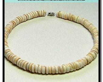 "Native Treasure - Royal Beige Puka Shell Necklace - 8mm (5/16"") Medium Shells"