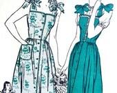 UNCUT * 1940's Butterick Pattern 3410 *  Misses' Sun Dress or House Dress and Bonnet   - Size 16  *  Bust 34