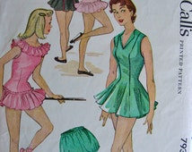 UNCUT  1950's McCalls Pattern 793 - BEAUTIFUL Dancing and Ballet Costumes and Bloomers  - Size 14..bust 32
