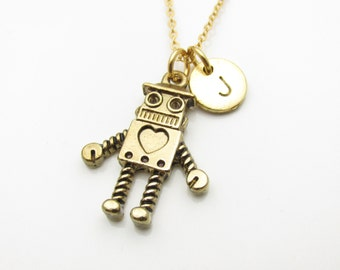 Robot Necklace, Robot with Heart Charm Necklace, Antique Gold Robot, Initial Necklace, Personalized Stamped Monogram Z134