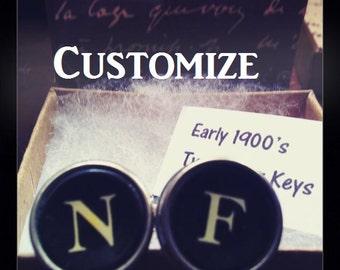 Typewriter Key Cufflinks, Wedding Gift, CUSTOMIZED, Choose Your Letters, Vintage , GROOMSMEN Gift, Vintage, Authentic