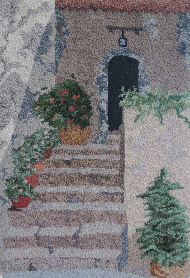 Hooked Rug Stairway In Provence Hand Hooked Rug Wall Hanging