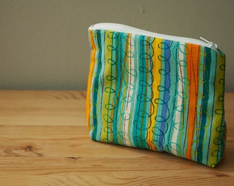 Cosmetic bag with Colorful Striped Design