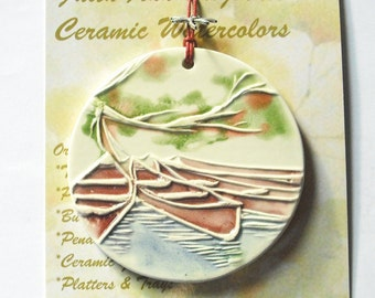 "Ornament - ""Tethered Canoes"" handmade ceramic watercolor camp outdoor lake river boat sport ornament less than 25.00 by Faith Ann Originals"